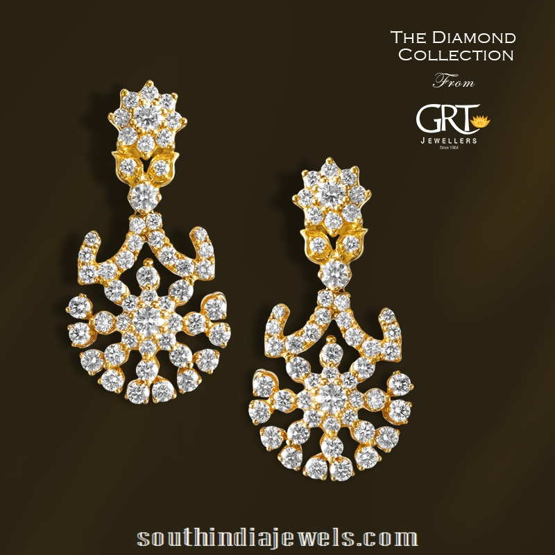 Stunning Diamond Earrings From Grt Jewellers South India Jewels