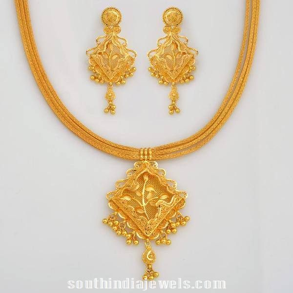 Stylish Gold Floral Necklace with Earrings