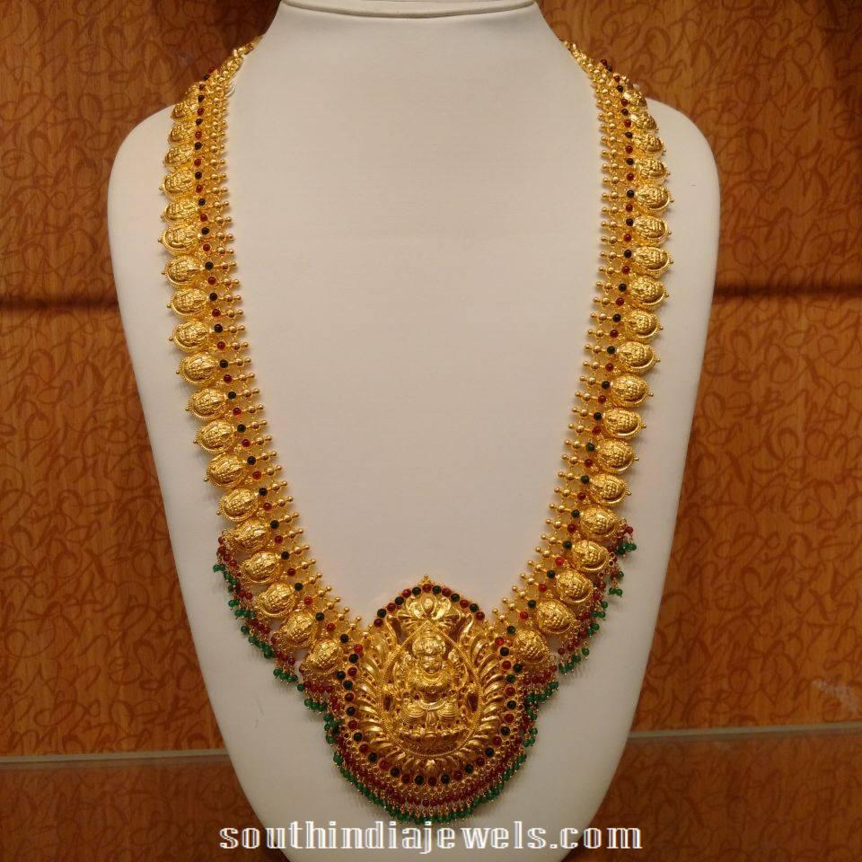 Gold Mango Haram with Lakshmi Pendant