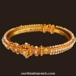 22K Gold Pearl Bangle Design