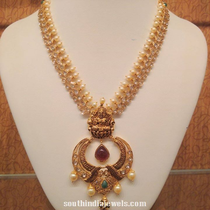 gold pearl temple necklace design