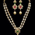 Two Layer Polki Haram with Earrings