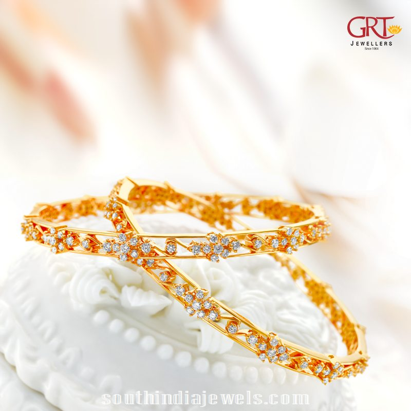 Gold white stone bangle design from GRT jewellers