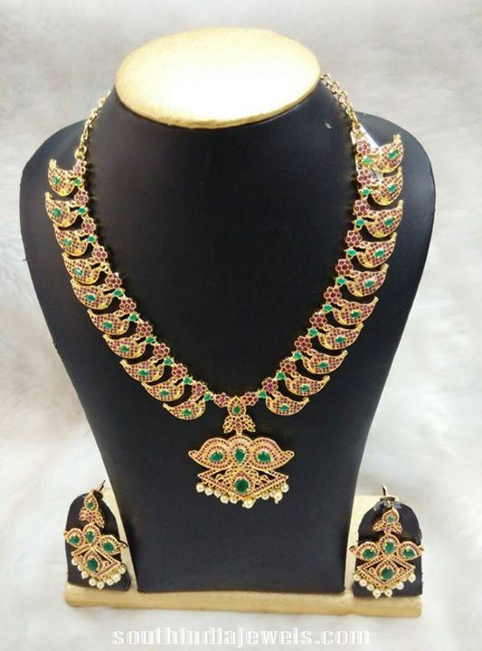 Artifical Jewellery designs mango mala with earrings