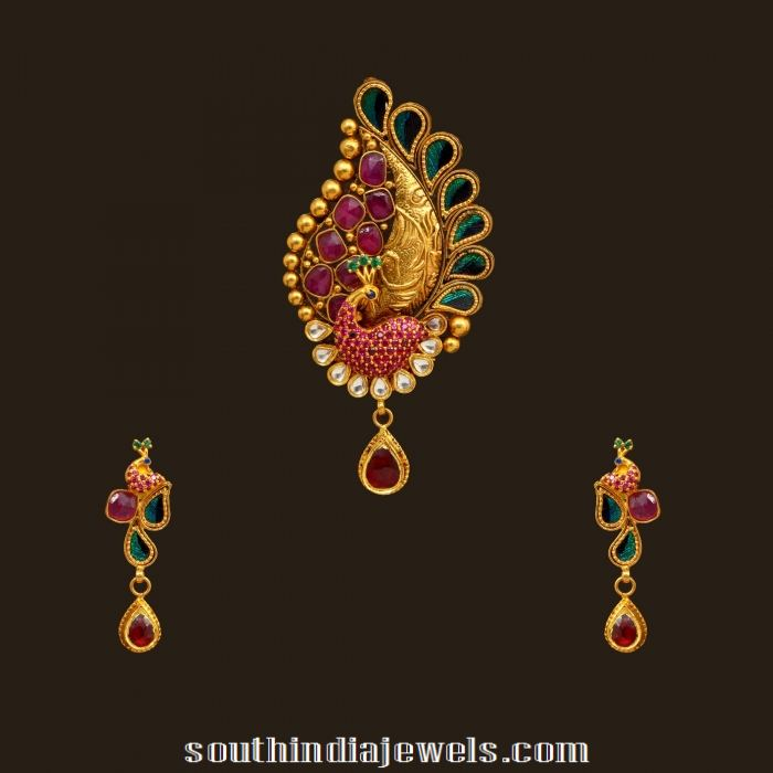 Kundan peacock pendant set from VBJ