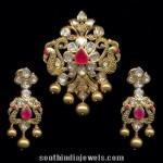 Gold Peacock Pendant Set with Chandbali Earrings