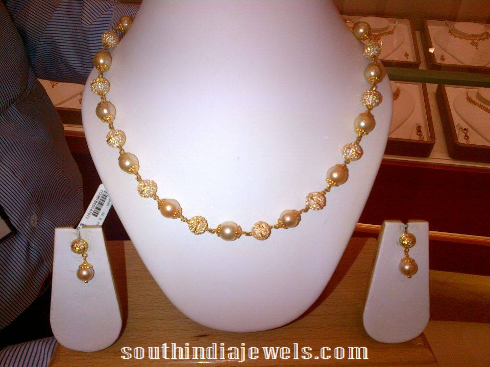 gold -pearl CZ Stone mala necklace