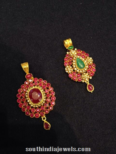 Gold ruby Pendants latest designs