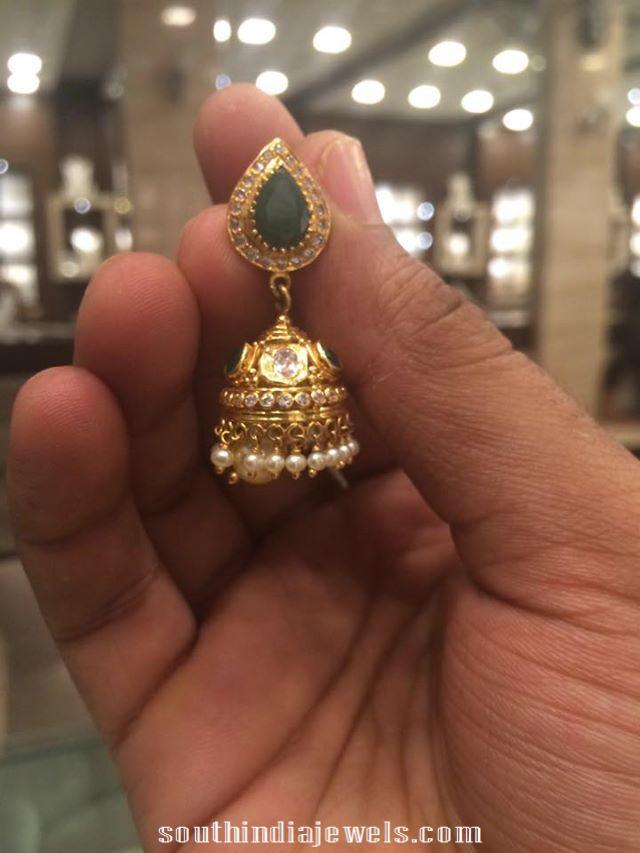 Gold Emearld Jhumka Design