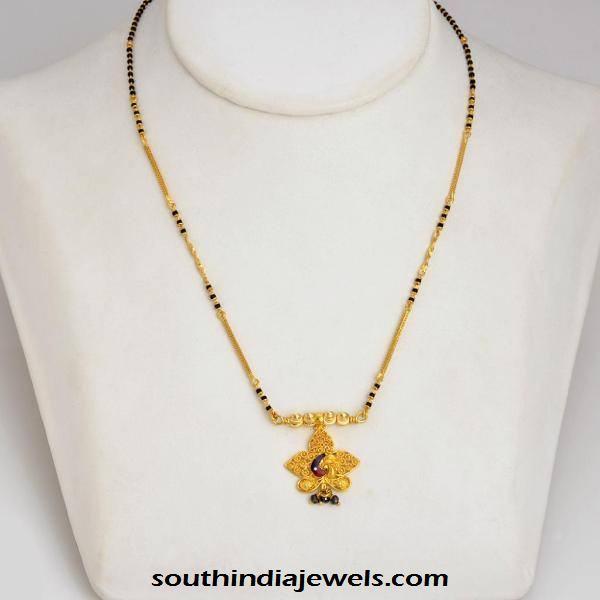 22k gold black bead chain latest design