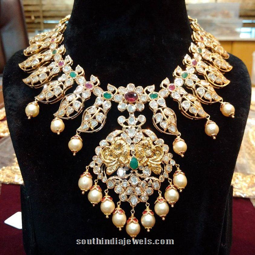 22k gold pachi necklace with rubies and emeralds