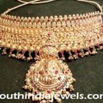 22k Gold Temple Choker Necklace Set