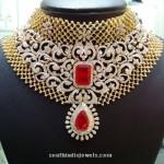 Bridal Diamond Choker With Red Stones
