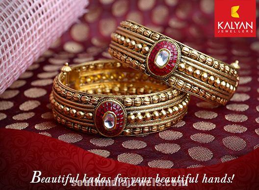 Kalyan Jewellers gold antique bangle model