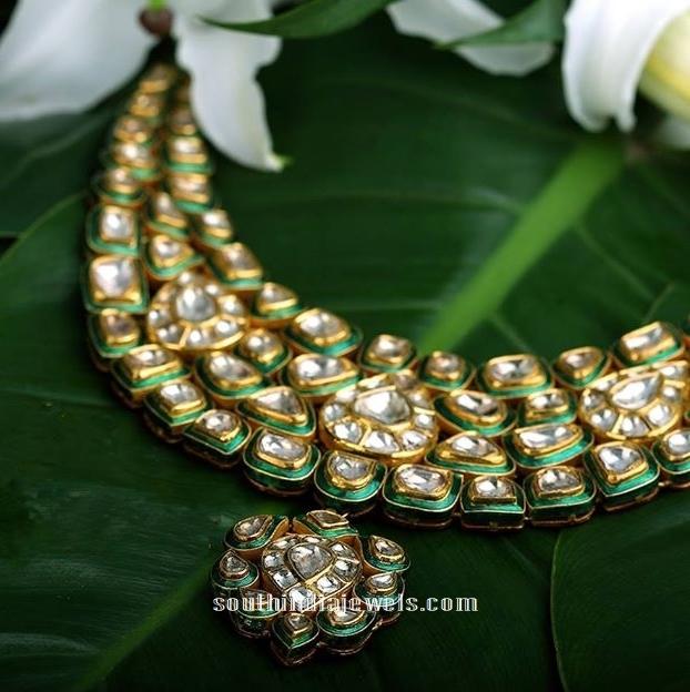 Kalyan Jewellers gold Kundan Necklace