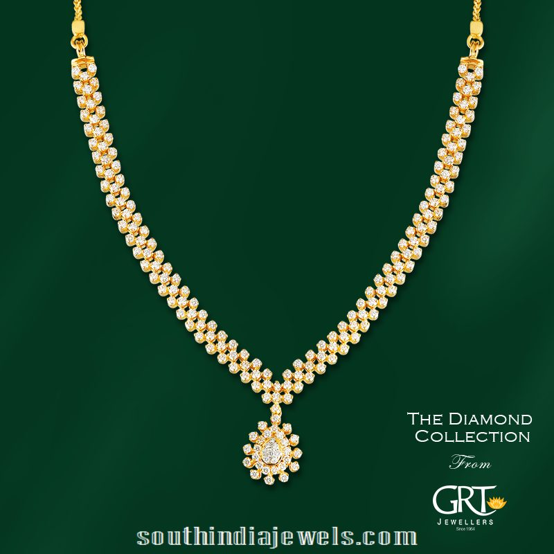 Simple Stylish Diamond Necklace South India Jewels