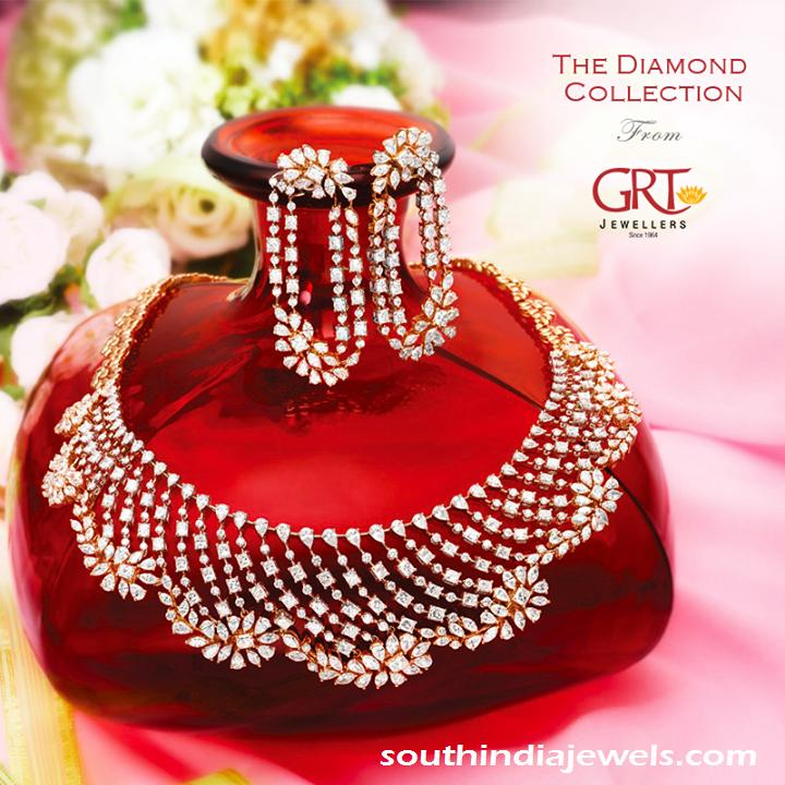 Latest diamond necklace set and earrings from GRT jewellers