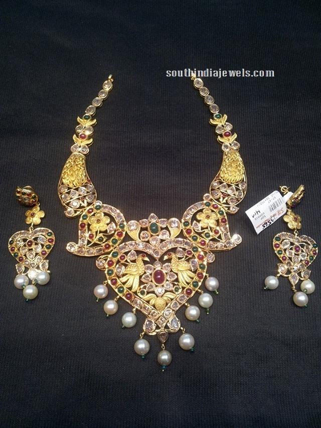 22k gold antique pachi necklace set model
