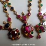 Gold Antique Navarathna Necklace Model