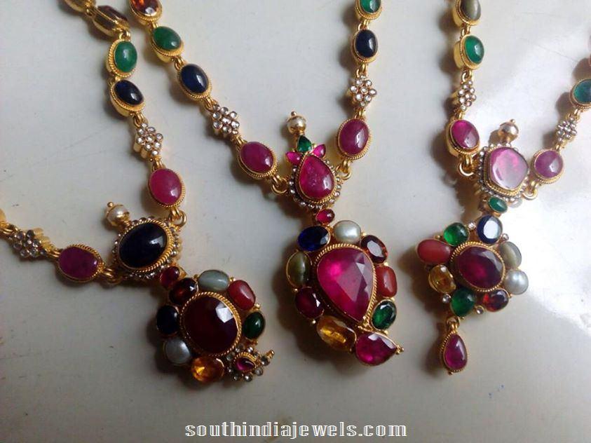 gold antique navarathna necklace model 2015