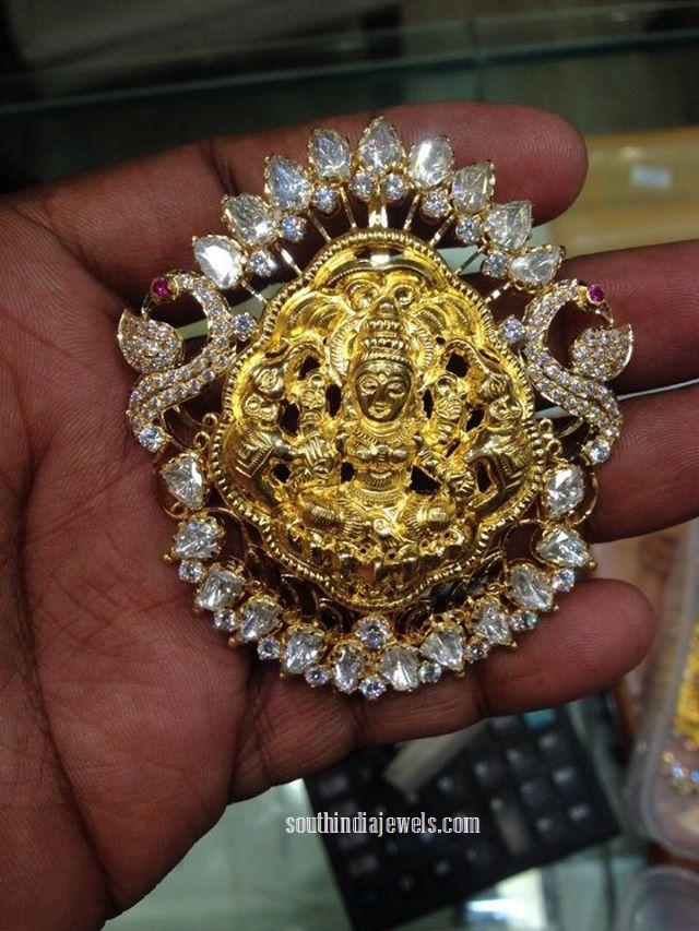 Gold Lakshmi temple pendant