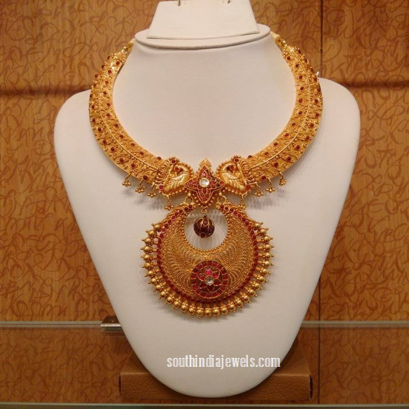 Gold Ruby Peacock Necklace set