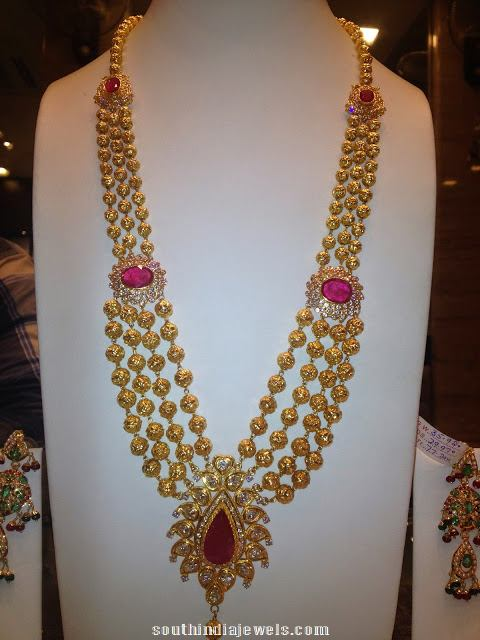 Gold ruby gundala haram with weight 70 grams