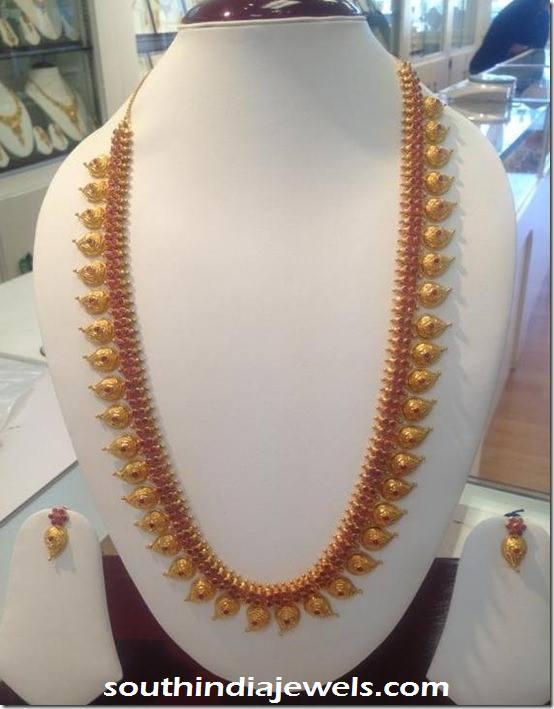 Gold Ruby Mango Long Necklace