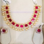 Gold Ruby South Sea Pearl Necklace Set