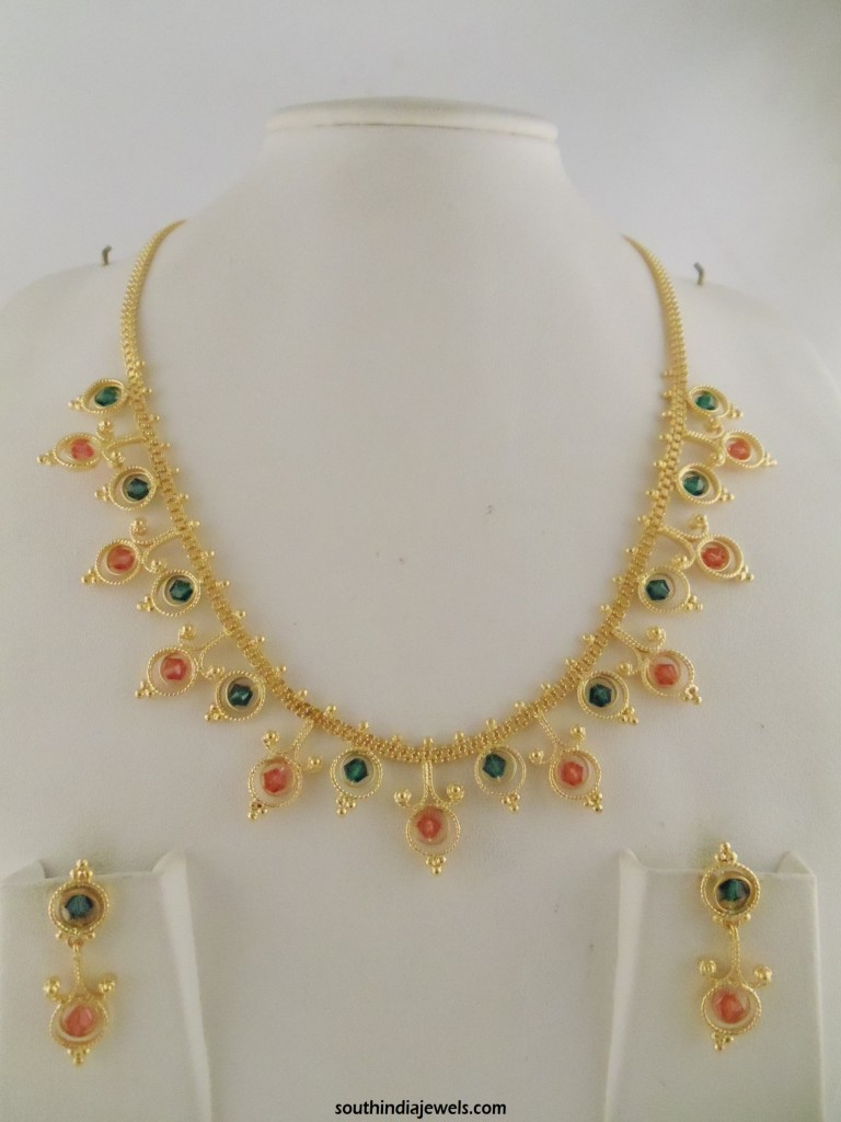 One Gram Gold Crystal Necklace