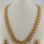 1 Gram Gold Ruby Emerald Stone Necklace