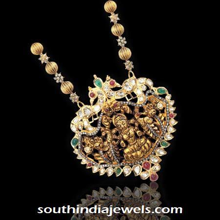 22 carat gold antique stond studded lakshmi pendant design