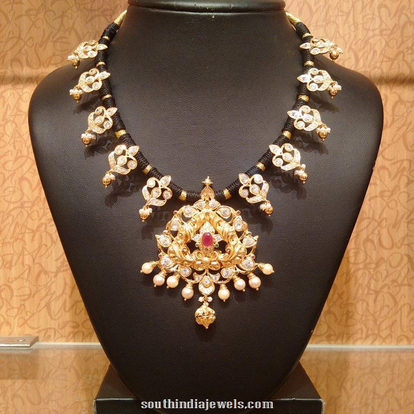 22k gold black thread necklace design