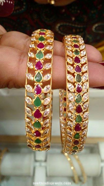 22k gold ruby emerald bangle