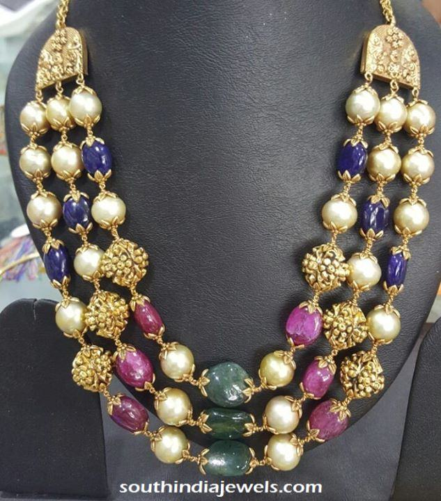 Gold Antique Multilayer beads mala