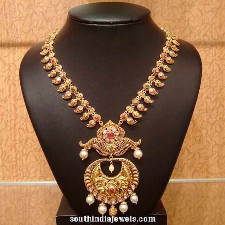 Antique short mango haram with pearls pendants