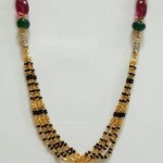 Black Bead Mangalsutra with Rubies,Emearlds