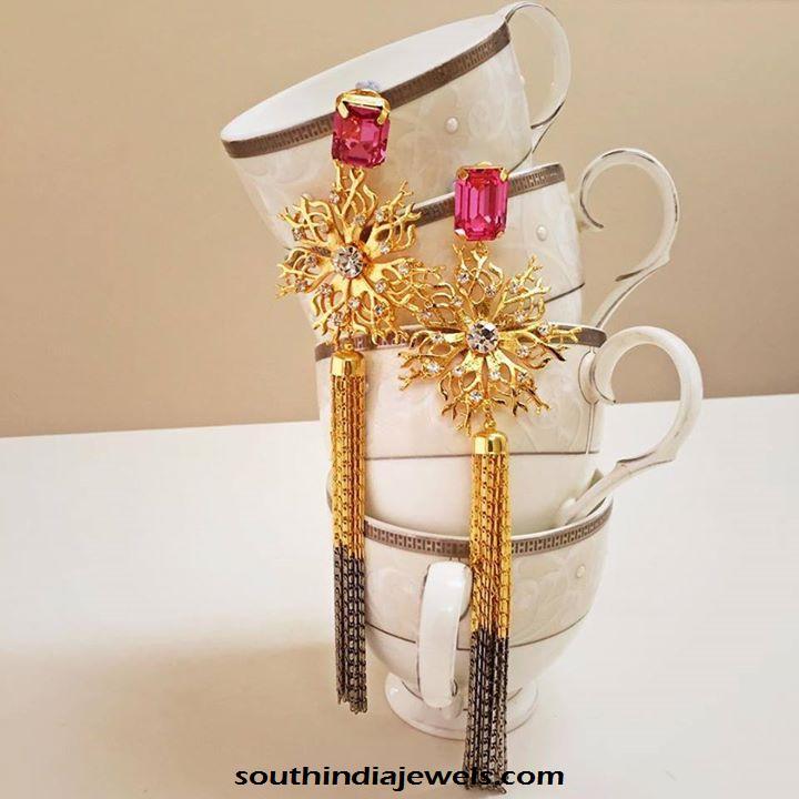Designer gold cosutme jewellery earrings from prerto