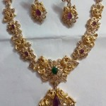 Gold CZ Stone Floral Peacock Necklace