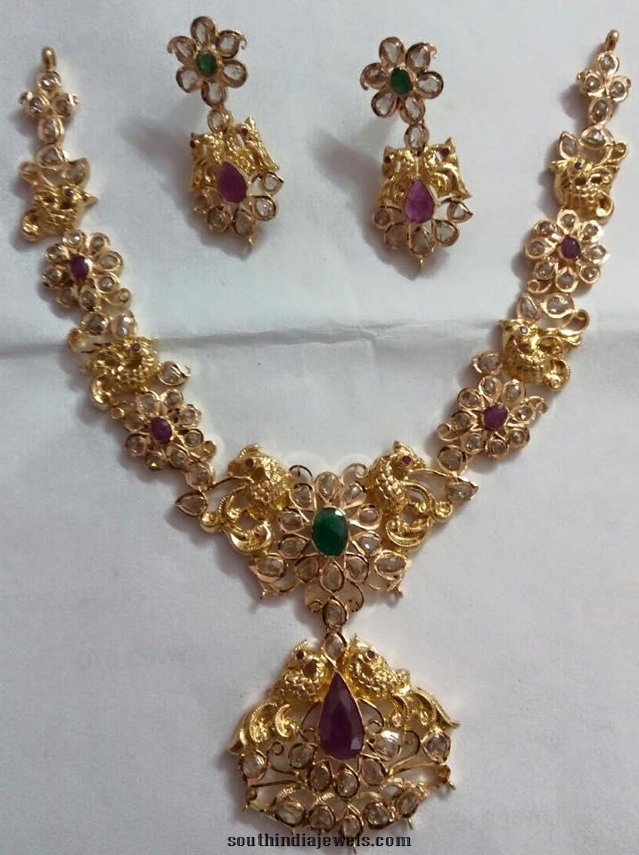 Gold CZ Stone Floral Peacock Necklace Design