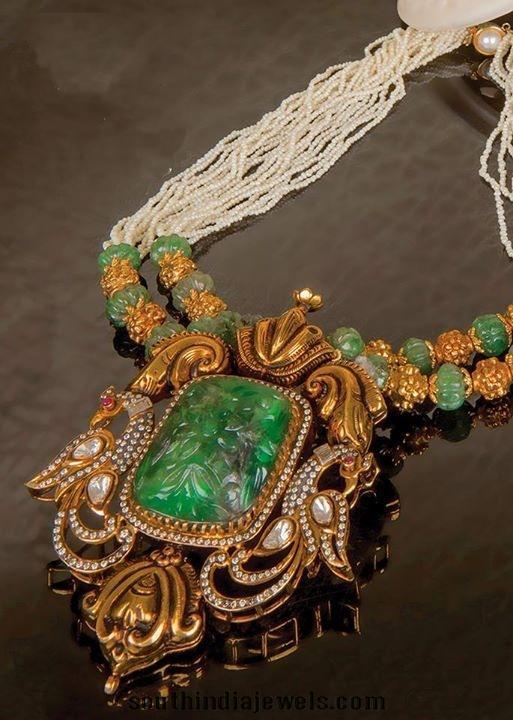 Gold Emerald Pearls Mala