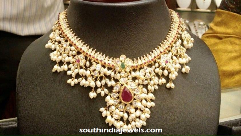 22K Gold and Pearl Guttapusalu necklace design