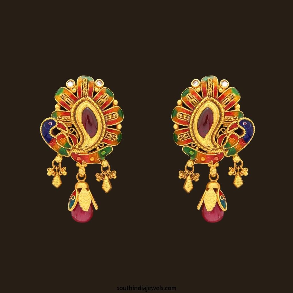Gold Enamel Earrings from VBJ