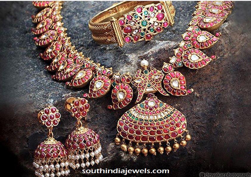 Gold Kemp Necklace , bracelet and Jhumka