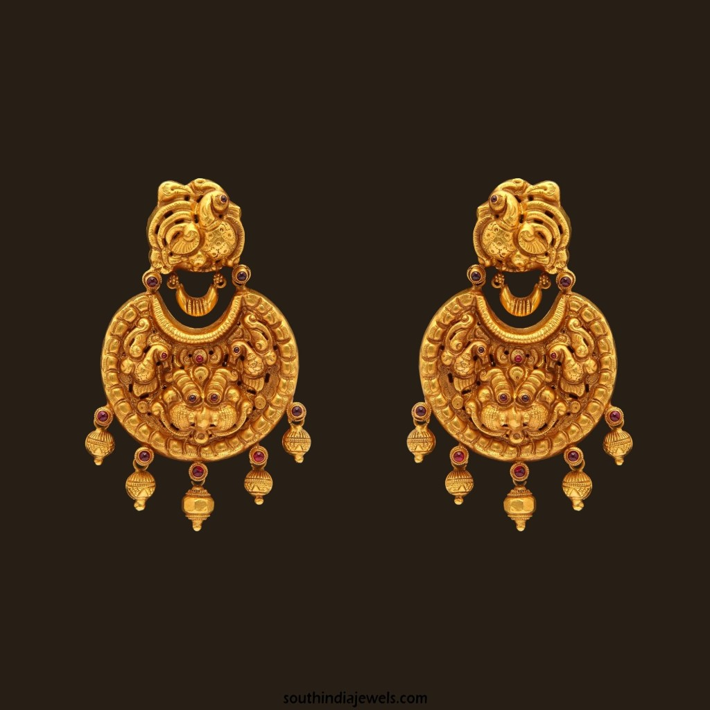 Gold Nakshi Work Nagas Earrings from VBJ