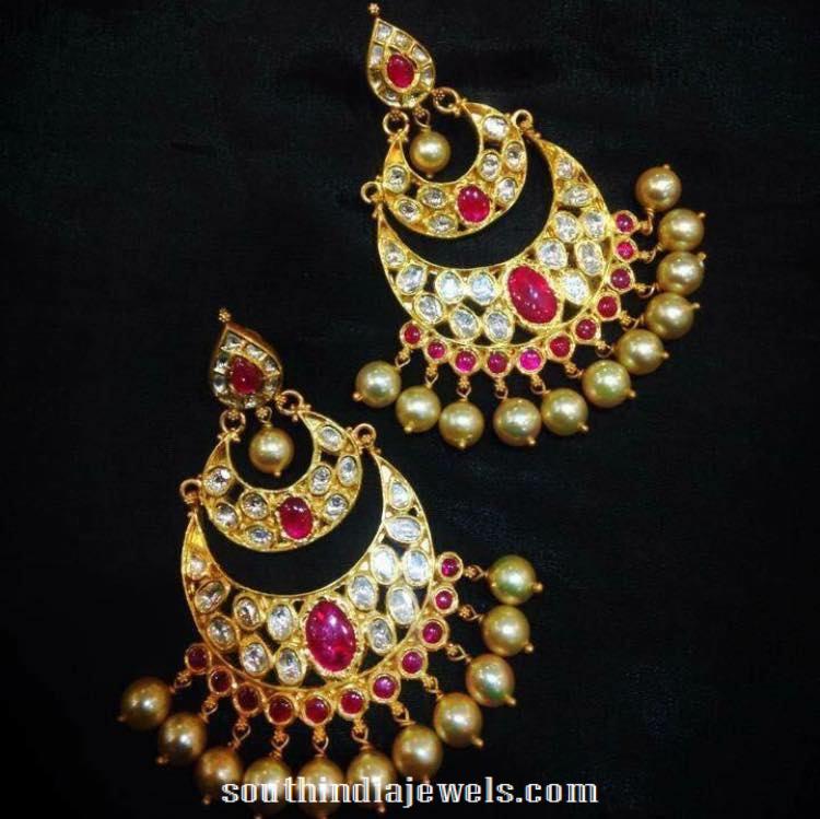 Gold Ruby Chandbali style earrings