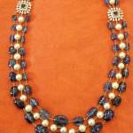 Three Layer Gold Beaded Diamond Necklace