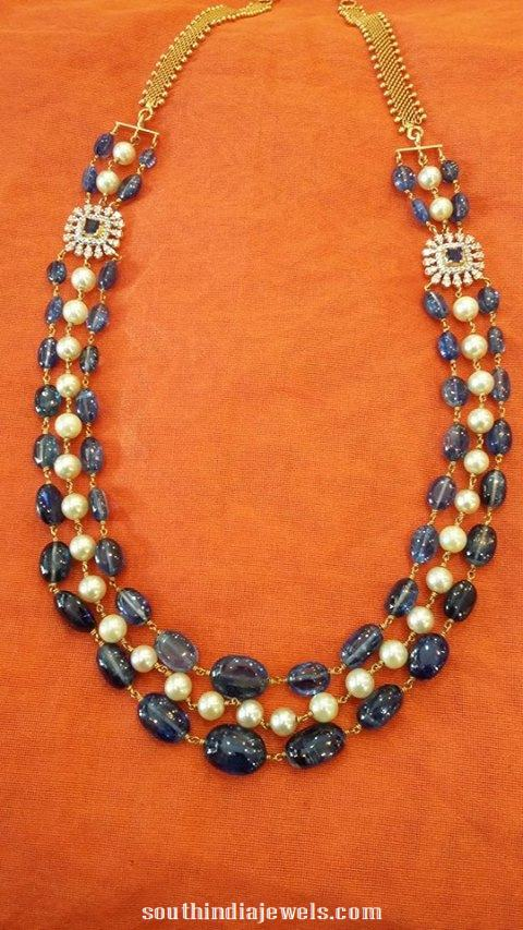 Gold Three Layer Beaded Necklace with Diamond side pendant