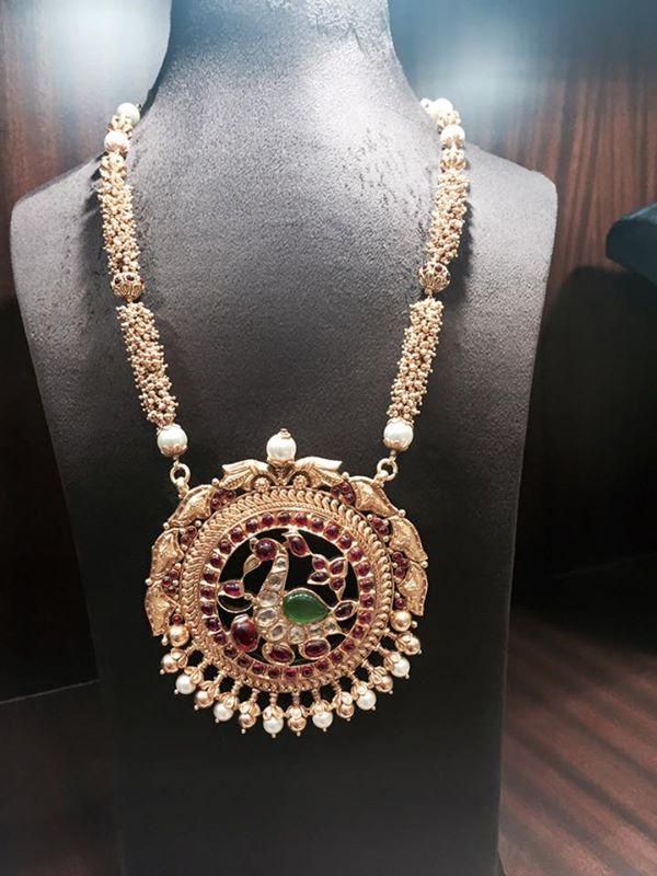 Peral Long Necklace Design wtith peacock pendant