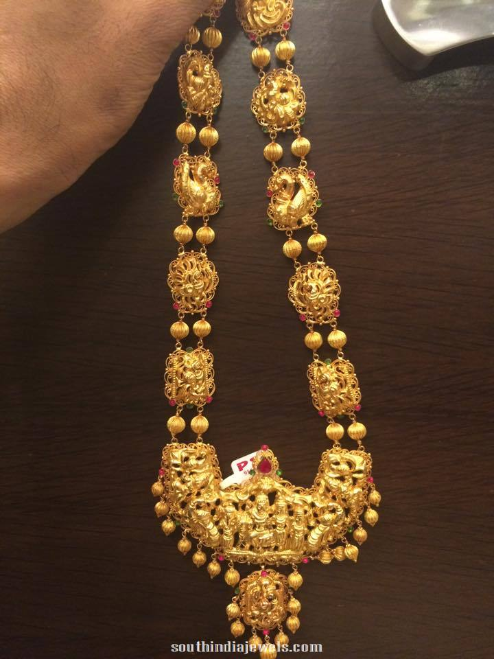 Gold Bridal Antique Long Necklace Design